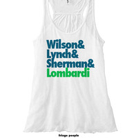 Wilson and Lynch & Sherman + Lombardi Racerback | Seattle Go Hawks Twelves 12s Flowy Tank Top | Seahawks Girls Tank | Women's NFL Jersey Tee