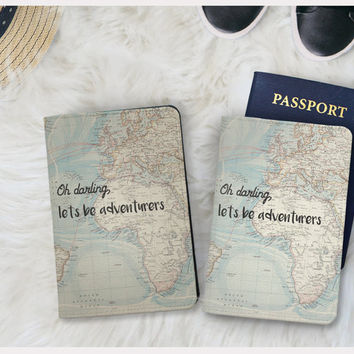 Oh darling let's be adventures faux leather passport holder vegan leather passport wallet wanderlust passport cover adventure covers
