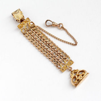 Antique Victorian Rosy Yellow Gold Filled Pocket Watch Chain & Fob - Edwardian Jewelry Charm Monogrammed RLR Hallmarked D.F.B Co
