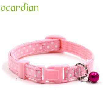 Ocardian Pet Collar Nylon Pet Dog Puppy Cat Collars Polka Dot Print Adjustable Pet Neck Chain With Bell  #30 gift 1pc Drop