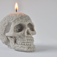 Skull Ya Later - Handmade Vegan Soy Grey Skull Candle - Goth Chic
