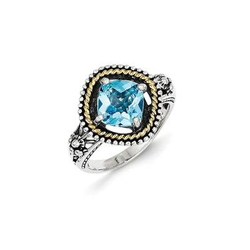 Antique Style Sterling Silver with 14k Gold 2.86 Swiss Blue Topaz Ring