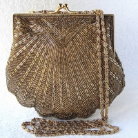 Valerie Stevens Gold Beaded Purse Vintage Handbag Glass Bead Shell Clutch Long Chain Across Body Shoulder Strap Wedding Formal Bridal Prom