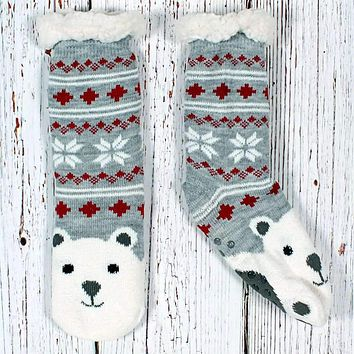 Fred the Polar Bear Sherpa Lined Socks by Nordic Fleece
