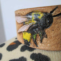 Leather bracelets, leather cuffs, Bumblebees bracelet, bumblebee jewelry, tooled leather