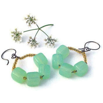 Green glass beaded earrings wire hoop earrings by BrandonArtists