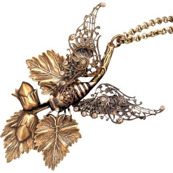 Cicada Necklace, Cicada Wings, Acorn Necklace, Art Nouveau Style, Cicada Jewelry