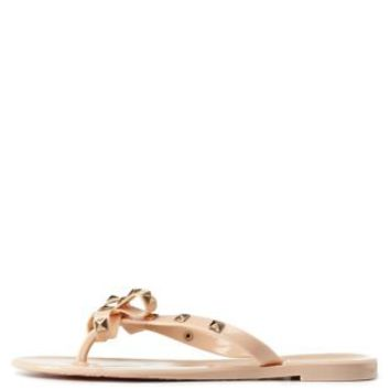 Nude Studded Bow Jelly Thong Sandals by Charlotte Russe