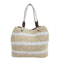 Women's Natural w/Stripes Vegan Leather Beach Bag