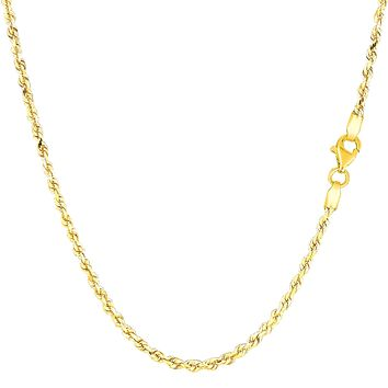 14k Yellow Gold Solid Diamond Cut Royal Rope Chain Necklace, 2.0mm