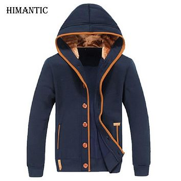 Men Fleece Elbow Patch Hooded Single Breasted Hoodies Male Casual Sweatshirt Jacket  Spring Autumn Winter Fashion