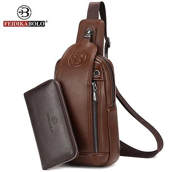 Bag Men Chest Pack Single Shoulder Strap Back Bag Leather Travel Men Cross body Bags Vintage Rucksack Chest Bag