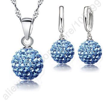 Women 925 Sterling Silver Crystal Ball Earring And Pendant Necklace Set