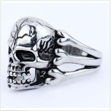 DCCKU62 2015 Man's Ring Gothic Men's Skull Flower Biker Zinc alloy Ring Man fashion rings Free shipping