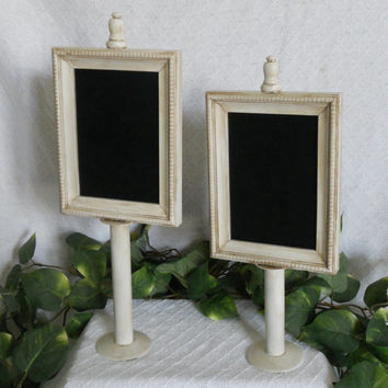 UNIQUE set of two white PEDESTAL chalkboards, Pedestal chalk boards, Small framed chalkboards, wedding chalkboards, table chalkboards