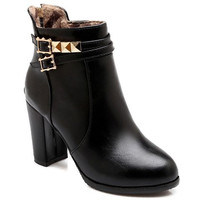 Back Zippered Short Boots With Rivets and Buckles Design