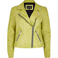 River Island Womens Lime embossed leather jacket