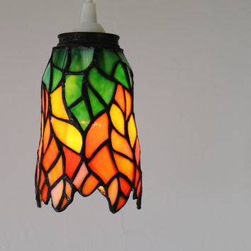TIGERLILY - Hanging Pendant Lamp Featuring A Vintage Stained Glass Lamp Shade - Orange & Green Lighting Fixture - OOAK BootsNGus Lamps
