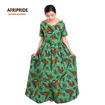 African dresses for women princess style femmes african clothes new elegant noble print cotton wax plus size short sleeve
