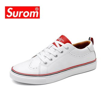SUROM New Men's Casual Shoes White Color Krasovki Flats Man Round Toe Brogue Shoes Leather Fashion Loafers Zapatillas hombre