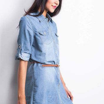 Belted+Chambray+Shirt+Dress