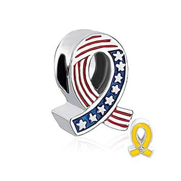 QueenCharms Patriot Bead Two Sided US Army Yellow Ribbon and USA National Flag Charm for Bracelets
