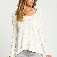 Ivory Buttoned Ribbed Knit Top