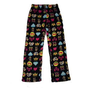 So Nikki Girl's Super Soft Fleece Pajama Pants - Emoji