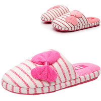 Rose Red Stripe Pattern Bow Detail Slippers