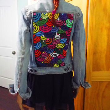 Women's hand painted Jean Jacket