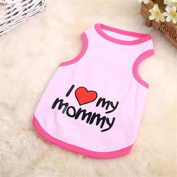Soft Small Pet Cotton Shirt I Heart My Mommy/Daddy
