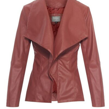 Womens Faux Leather Jacket Red - Casual Draped - Catherine - James&Co