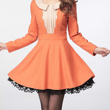 Orange winter wool dress long sleeve dress maxi dress casual cotton skirt lace edge dress women skirt plus size women dress maternity skirt