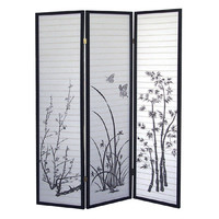 Hand Made Japanese Shoji Screen Room Divider 3 Panel with Hand Painted Four Seasons Floral Print
