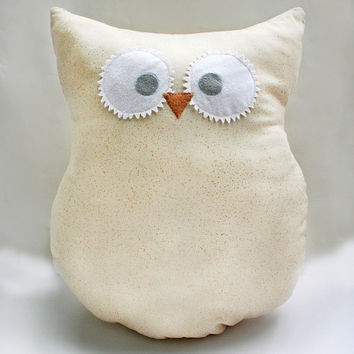 Cream Colored Owl Pillow - Owl Plush - with Gold Shimmer - Large