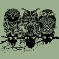 Owls of the Nile Art Print by Rachel Caldwell