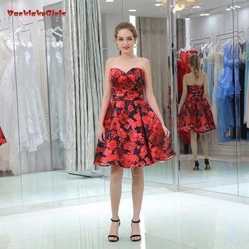 2018 New Strapless Short Dresses A-Line Satin Dresses Off The Shoulder Floral Print Simple Evening Dresses Party Prom Dresses