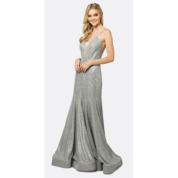 Low V-Neck Fitted Glitter Mermaid Prom Dress Silver