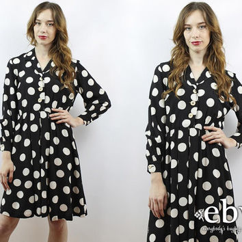 Vintage 90s Black + White Polka Dot Mini Dress XS S Polka Dot Dress Day Dress Work Dress 90s Babydoll Dress Longsleeve Dress Black Dress
