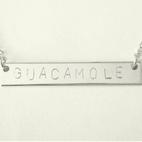 Customized Name Bar Necklace / Silver Initial Bar / Name Plate Necklace / Monogram Jewelry / Personalized Gift /  ID Jewellery / N161a
