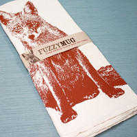 Hand-printed Fox Flour Sack Kitchen Towels