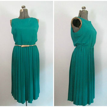 Pleated Leslie Fay Secretary Dress Vintage 1980s Classic Sleeveless Beautiful Teal Green Size 14