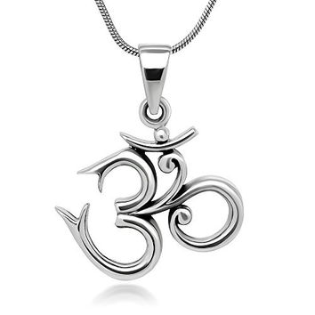 Sterling Silver 19 mm Aum Om Ohm Sanskrit Symbol Yoga Charm Pendant Necklace 18''