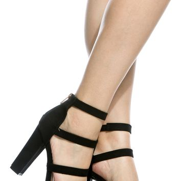 Black Faux Suede Multi Strap Chunky Heels @ Cicihot Heel Shoes online store sales:Stiletto Heel Shoes,High Heel Pumps,Womens High Heel Shoes,Prom Shoes,Summer Shoes,Spring Shoes,Spool Heel,Womens Dress Shoes