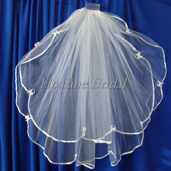 Veils, ribbon edge veils, two layer wedding veils, bridal veils