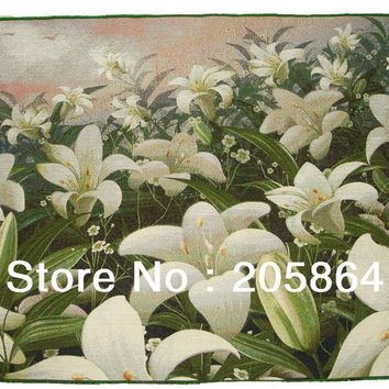 Free shipping hot sells decorative fabric picture, a lot of lily wall tapestry