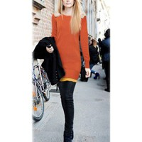 Orange Slim Long Pullovers  style Sweater126