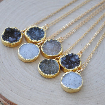 Round Druzy Necklace, Gold Druzy Necklace, Gold Druzy Jewelry
