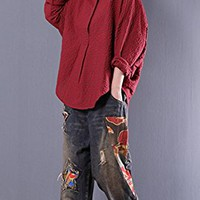 Women's Cotton Tops T-Shirt Long Sleeve Casual Loose Fitting Plus Size Red Plaid