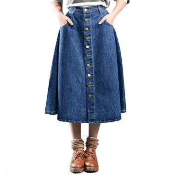 5XL 6XL 7XL 8XL Women long Skirts Vintage New 2016 Single breasted Denim Skirt Plus Size High Waist jeans Skirt Woman Casual